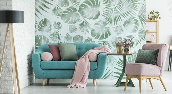 Giấy dán tường phòng khách biến đổi không gian tuyệt vời